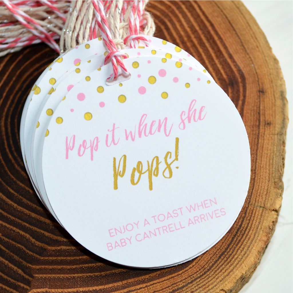 Pop It When She Pops - Baby Shower Tags - Pink and Gold