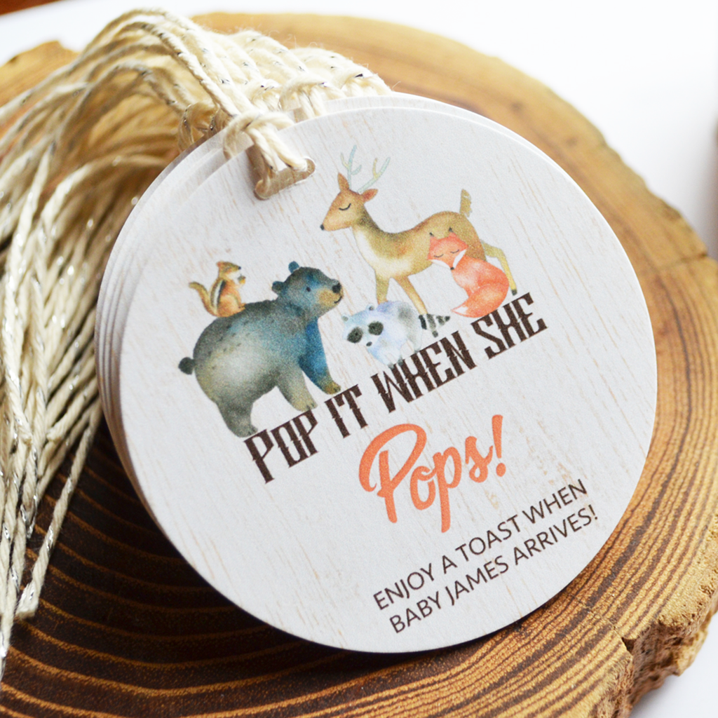 Pop It When She Pops - Baby Shower Tags - Woodland