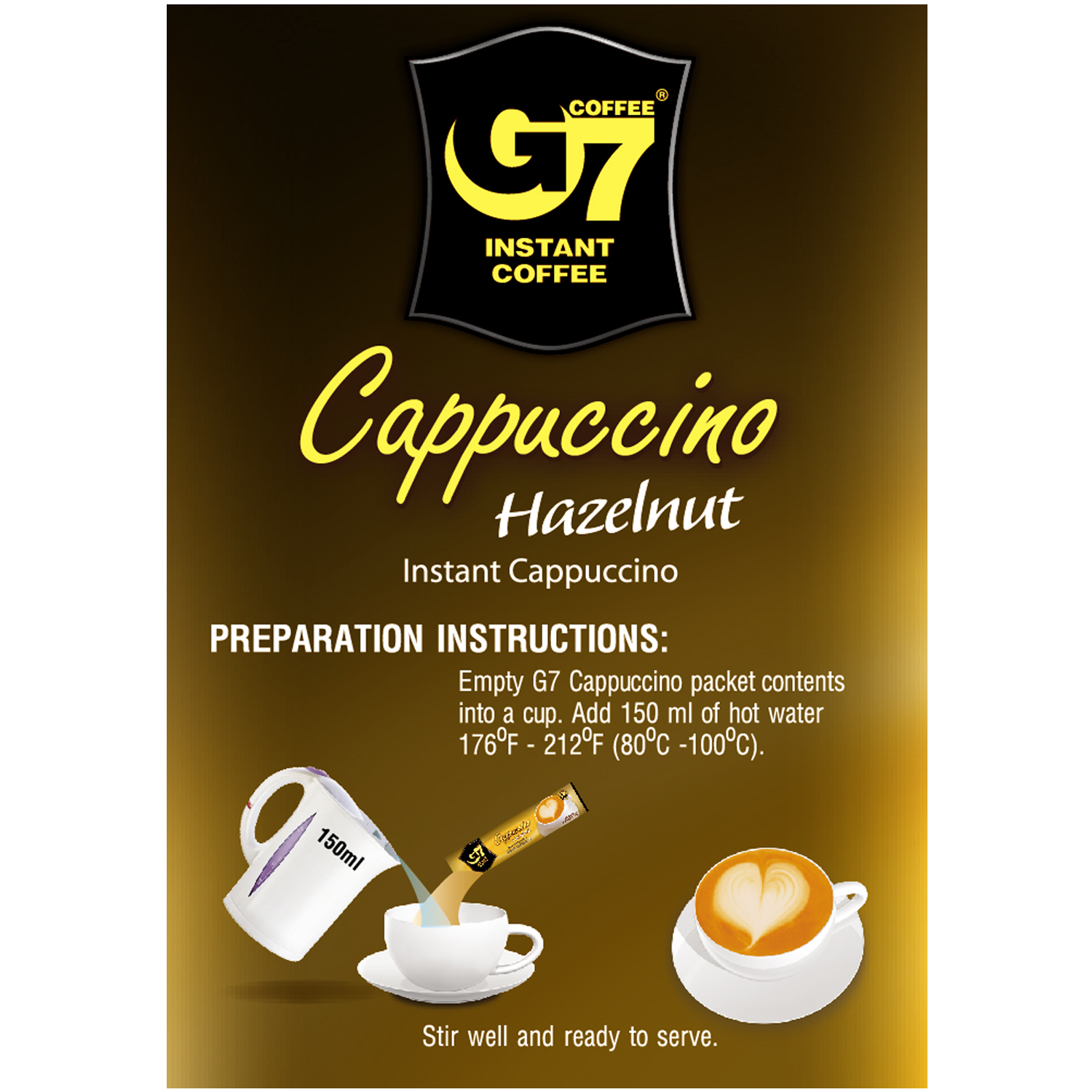 Trung Nguyen Vietnamese coffee G7 Cappuccino Hazelnut Instant Coffee