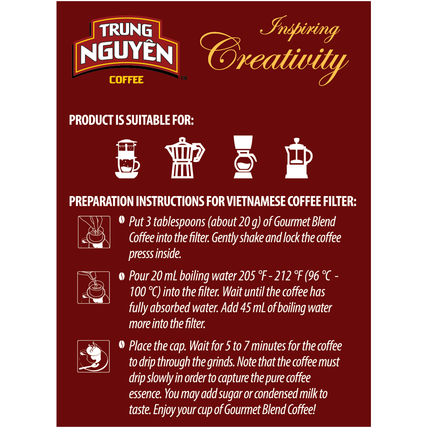Trung Nguyen Vietnamese Ground Coffee Pour-Over Gift Set: Gourmet Blend