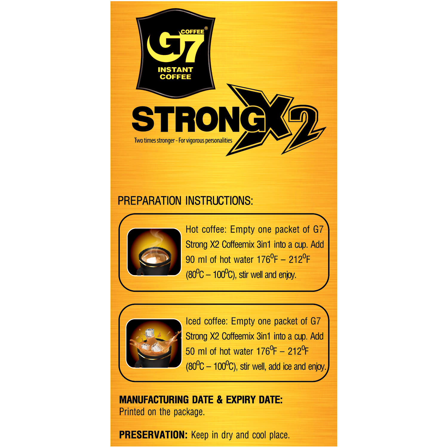 Trung Nguyen Vietnamese coffee G7 Strong X2 3 in 1 Instant Coffee
