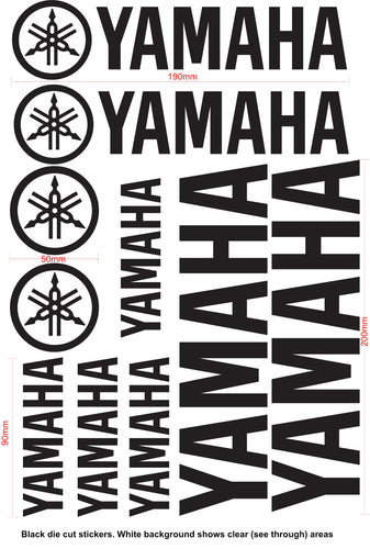 YAMAHA Name and Logo Vinyl Badge Sticker Decal Sheet Motocross Window Car Helmet Black