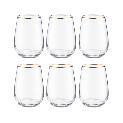 TOUCH OF GOLD 6x verre avec bord doré 590ml - BUTLERS