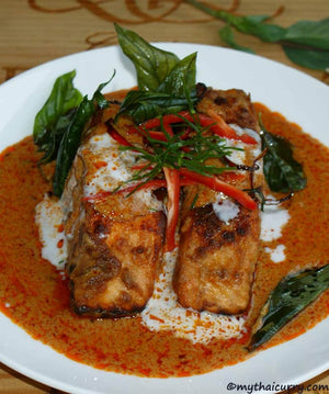 Serving Presentation Panang Salmon. Thai curry