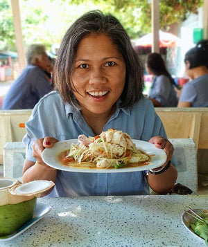 The author with plate of Som Tam