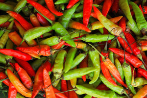 Mixture of red and green chillies with heat explanations