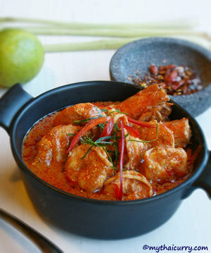 Thai Red Curry with Prawns Serving Presentation