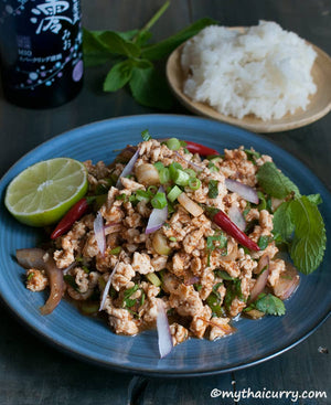 Thai Minced Chicken Salad or Laab Gai Serving Presentation