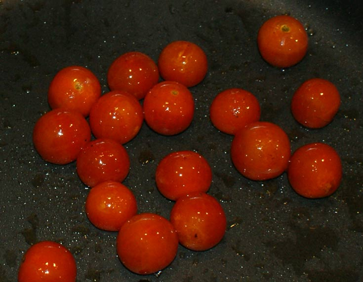 Sauté the cherry tomatoes