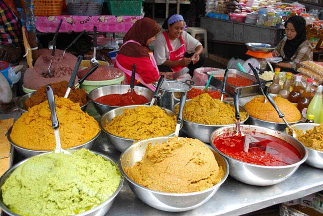 Curry pastes for sale market stall Thailand
