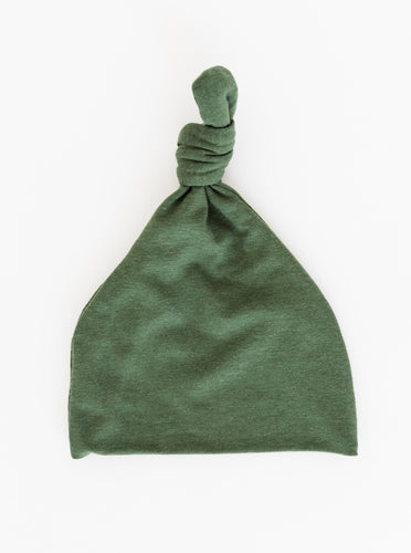 a full view of our Moss Green Top Knot Hat for babies