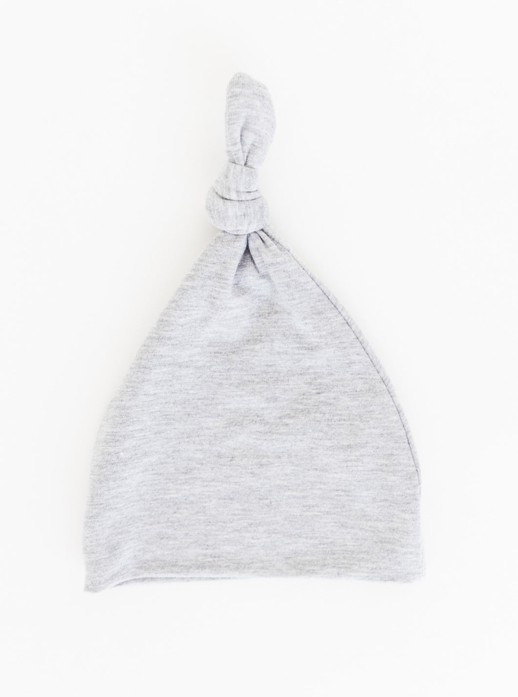 our bamboo top knot hat for babies in our heathered grey colour available in size 0-3 months