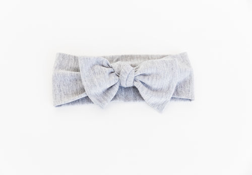 Bamboo Headband in heathered grey. Comes in one size 0-12 months