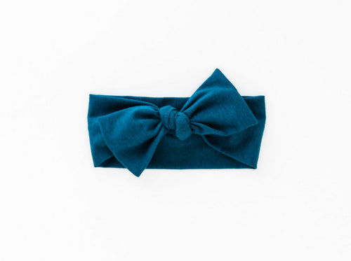 our bamboo stretch baby headband in midnight teal
