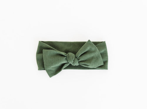 our bamboo stretch baby headband in moss green
