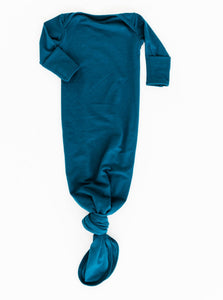 Bamboo knotted baby gown in Midnight Teal