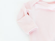 Load image into Gallery viewer, close up of our built in fold over mittens on our knotted baby gowns