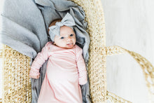Load image into Gallery viewer, baby girl wearing heathered grey headband and pink knotted baby gown