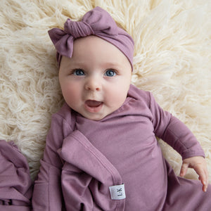 mauve knotted gown, swaddle and headband