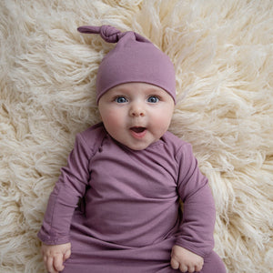 Top Knot Hat - Mauve