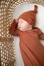 Load image into Gallery viewer, Knotted Baby Gown and Top Knot Hat in the colour Rust