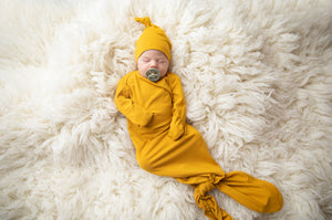Mustard Baby Knotted Gown and Top Knot Hat