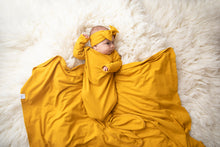 Load image into Gallery viewer, Mustard Knotted Baby Gown with matching mustard Swaddle and Mustard Top knot headband