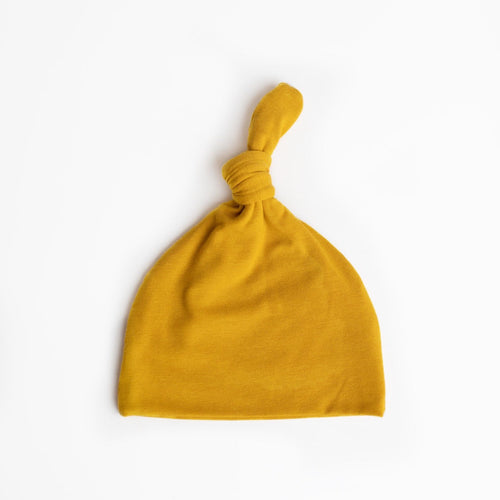Top Knot Hat- Mustard