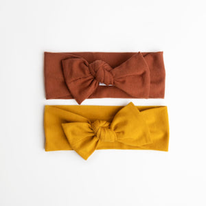 rust and mustard top knot headband