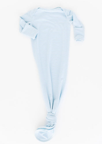 bamboo knotted baby gown in baby blue stripe