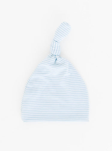 a full view of our bamboo top knot hat for babies in our baby blue stripe available in size 0-3 months