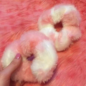 Pink + White Cow Print Scrunchie