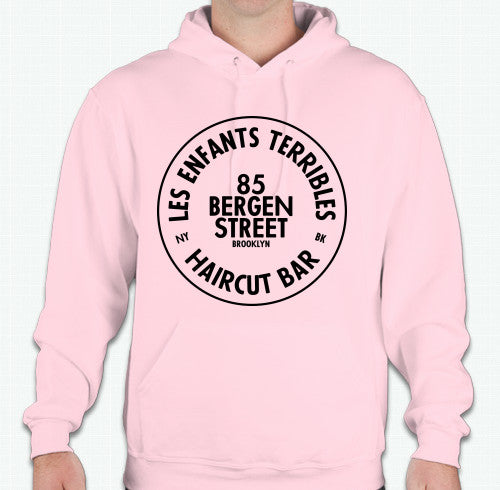 LETHaircutBar Pink Hoodie with Black Circle