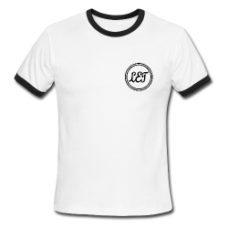 LetHaircutbar Ringer T Shirt White with Black