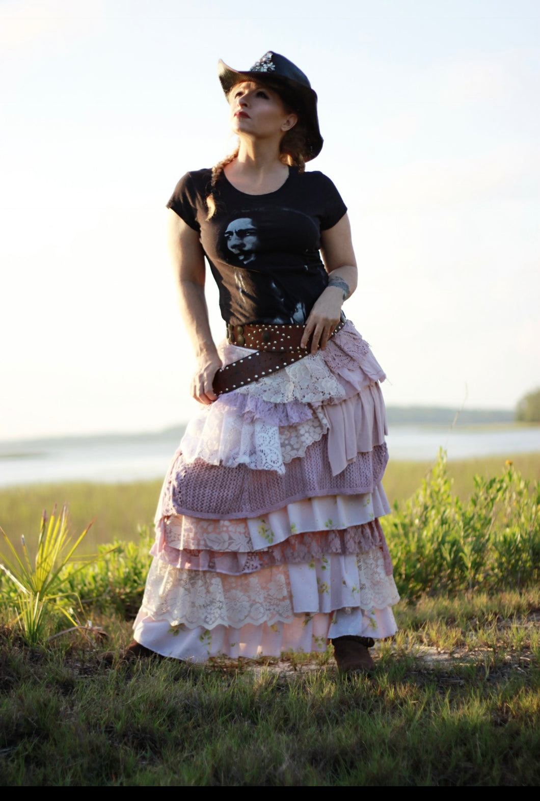 Long bohemian gipsy ruffled skirt with lace  shabby chic style romantic skirt
