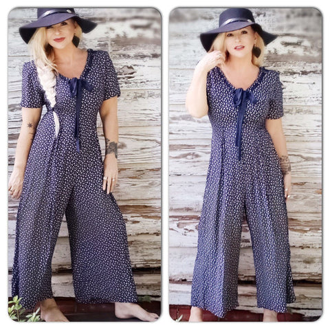 Vintage jumpsuit, retro boho festival wide leg jumper, overall, jumpsuit, navy blue floral, True Rebel Clothing M