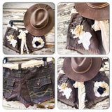 Country girl embellished shorts, upcycled coco brown shabby shorts, rustic country flower cutoff shorts, True Rebel Clothing 6