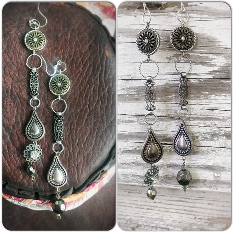 Upcycled anthropologie jewelry, earrings, anthropologie dangle shoulder duster earrings, boho earrings, crystals, True Rebel Clothing