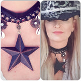Texas star choker Sea shell boho necklace, country cowgirl choker necklace, hippie chic jewelry, boho chic jewelry, True rebel clothing