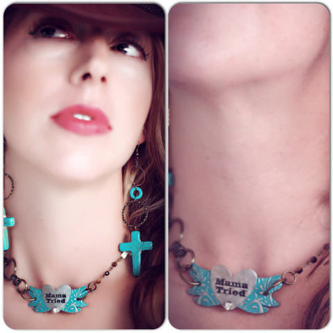 Mamma tried junk choker, gypsy cowgirl necklace