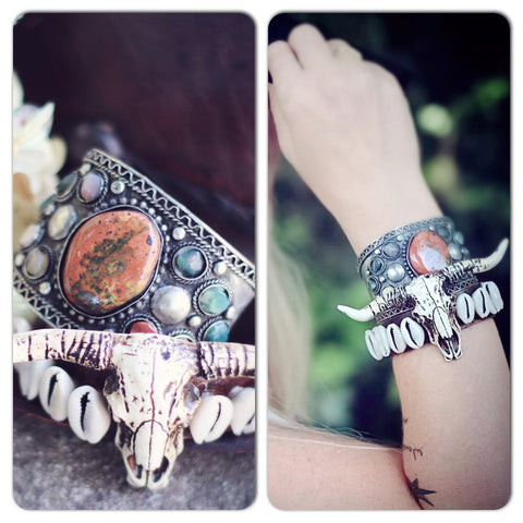 Steer n leather junk bracelet, gypsy cowgirl leather jewelry sky