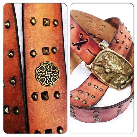vintage brown mexican leather hand studded belt, celtic studded belt, distressed leather womens belt, True Rebel Clothing