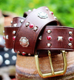 vintage brown sunflower leather hand studded belt, hippie chic red n silver belt, distressed leather womens belt, True Rebel Clothing