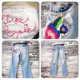 Rare vintage Free People jeans, hippie chic butterfly patchwork jeans, distressed vintage jeans, Mom jeans, True Rebel Clothing 27