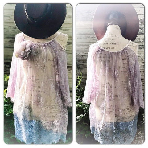 M L Spell n gypsy purple fall boho lace tunic, Stevie Nicks gypsy tunic, bohemian gypsy angel, gypsy moon, True Rebel Clothing