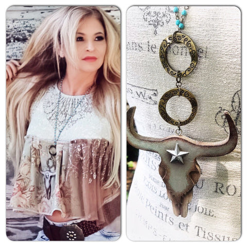 Texas steer necklace, turquoise beaded  boho necklace, country cowgirl pendant necklace, hippie jewelry, boho jewelry, True rebel Clothing