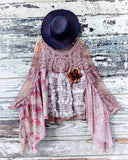 Resrved Fall shabby cocoa lace poncho, free people, magnolia farm Stevie Nicks style, bohemian bell sleeve poncho, True Rebel Clothing