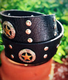Hand studded Black vintage leather belt, Texas star cowgirl leather belt, sterling silver embellished leather belt 34 True Rebel Clothing