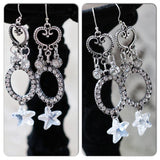 Celestial stardust silver earrings, Long dangle chandelier Jewelry