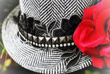 Gaga fall black n white fedora hat, embellished Bohemian beaded embroidered red rose hat, rock chic hat, Stevie Nicks, True rebel clothing